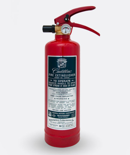 Cadillac Fire Extinguisher Sticker