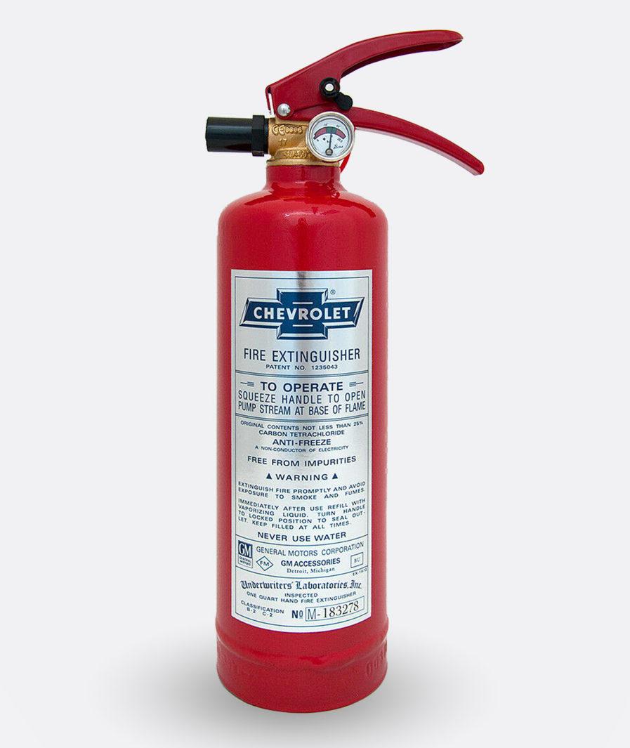 Chevrolet Fire Extinguisher Sticker