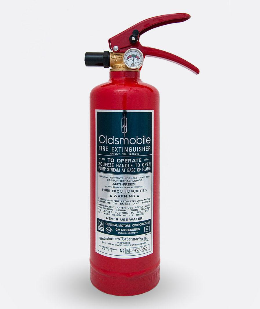 Oldsmobile Fire Extinguisher Sticker