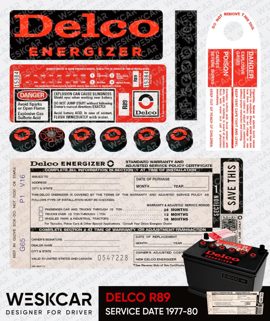 Delco Energizer R89 battery