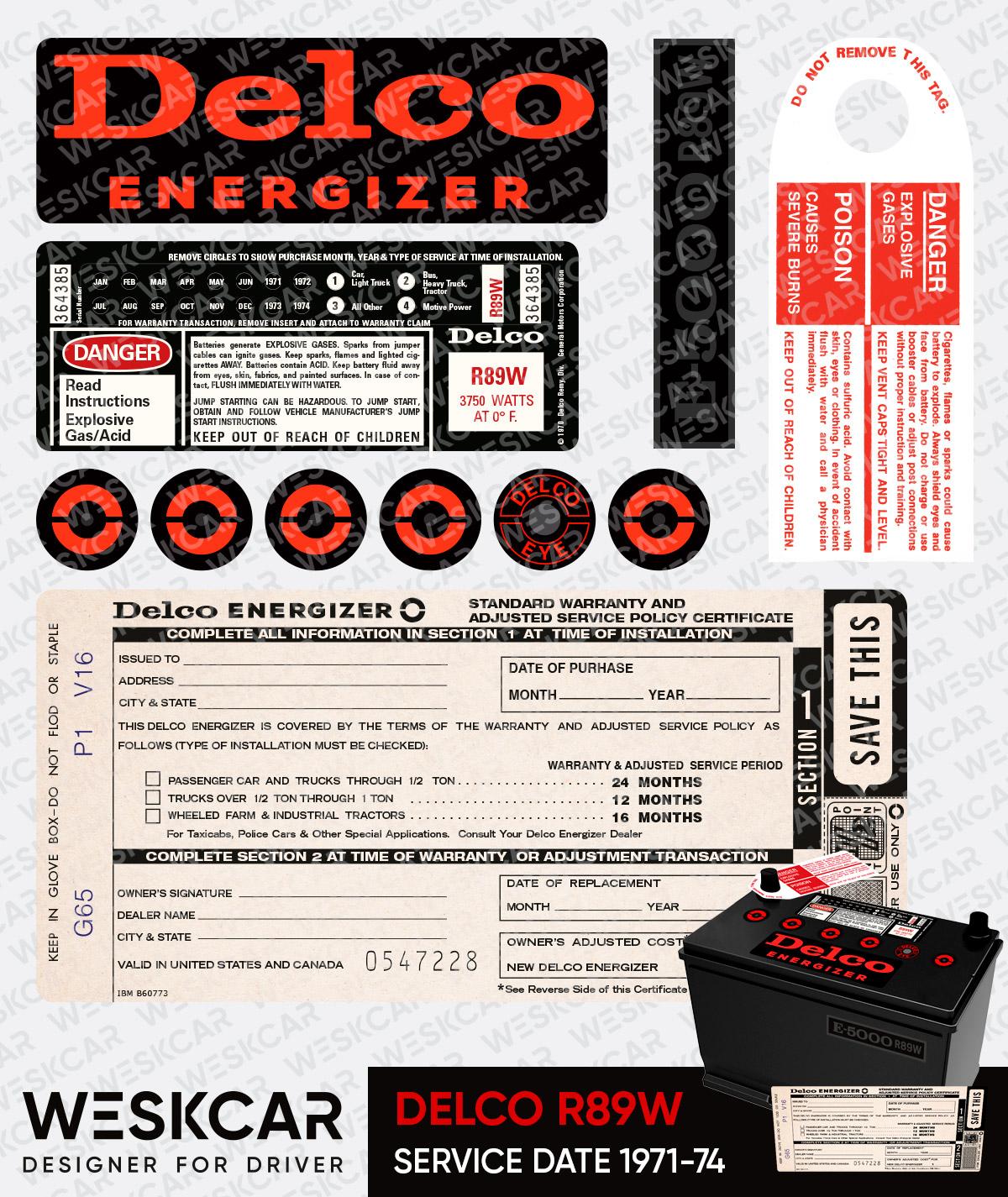 Delco Energizer Battery DC-7 Sticker kit