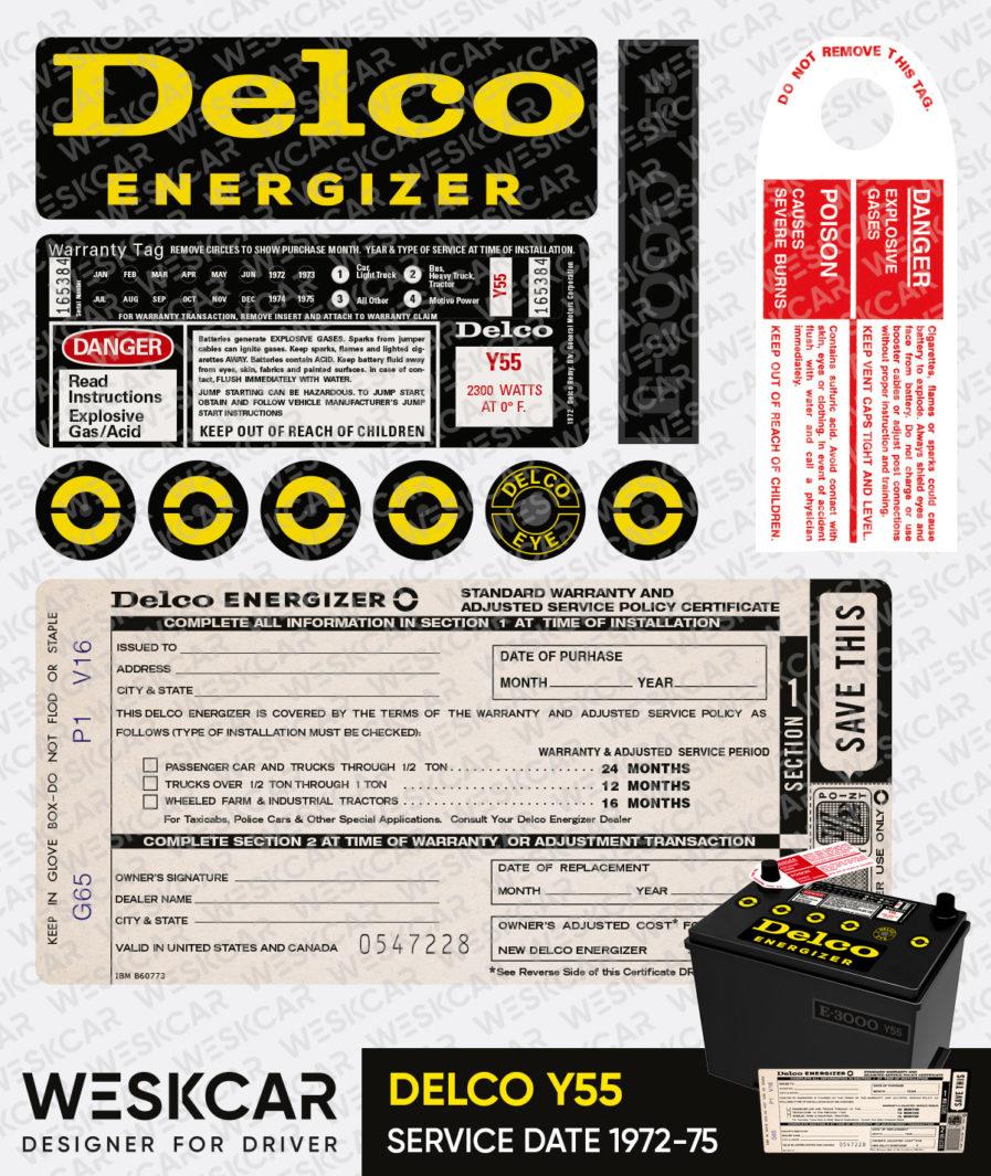 Delco Energizer Y55 battery