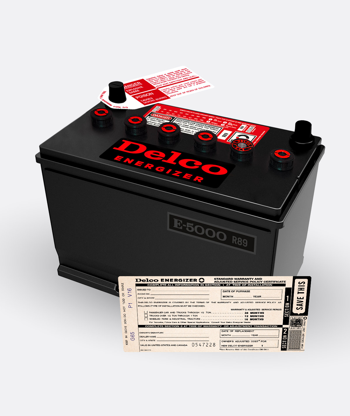 Delco Energizer Battery R89 Red Caps kit
