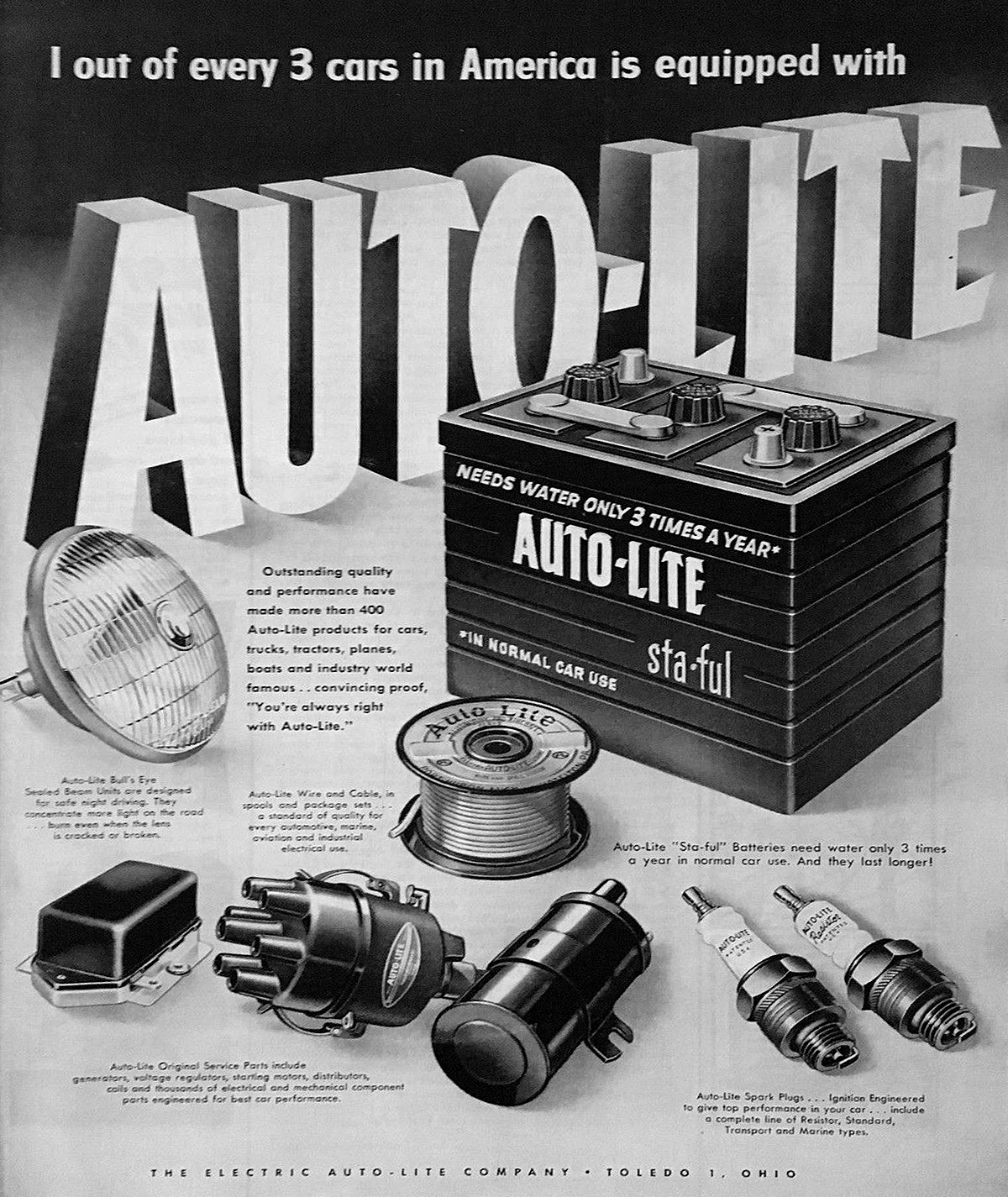 10 VG//EX 1950/'s Auto-Lite Sta-Ful Battery Advertisement Stickers Block of Ten