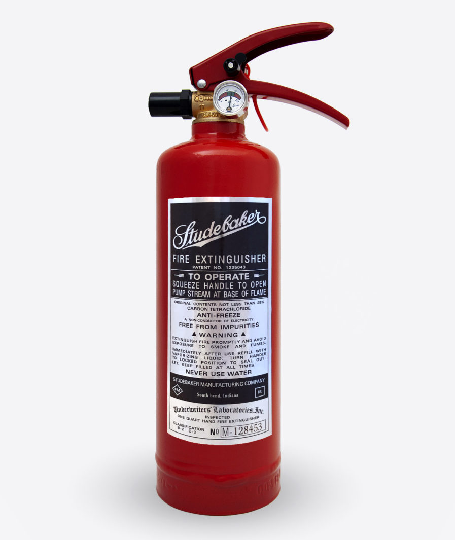 Studebaker extinguisher sticker